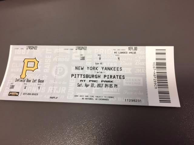 Juge HR - Pittsburgh Pirates New York Yankees MINT Ticket 4/22/17 2017 MLB Stub