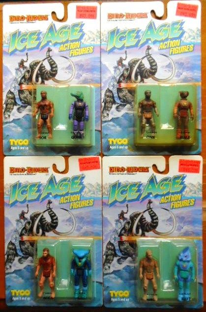 TYCO DINO RIDERS Ice Age FOUR unopened packages Neanderthal alien action figures