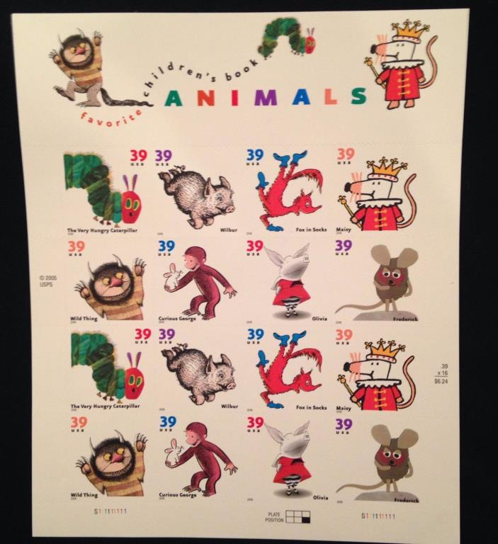 Favorite Children's Book Animals 39c Commemorative Stamps, Full Sheet $6.24 Face