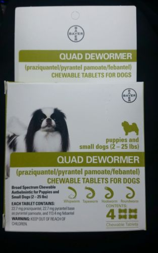 Bayer Quad Dewormer for Puppies and Small Dogs 2-25lbs (4 Chew Tabs)