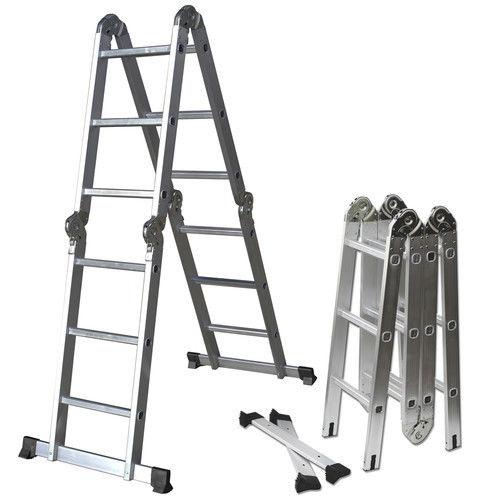 12.5 ft Aluminum Multi Purpose Folding Step Ladder Scaffold Extendable  Ladder