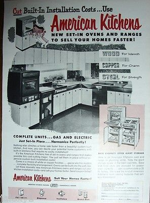 1955 AMERICAN Kitchens Steel Cabinets Units Oven Range Sells Homes Retro VTG Ad