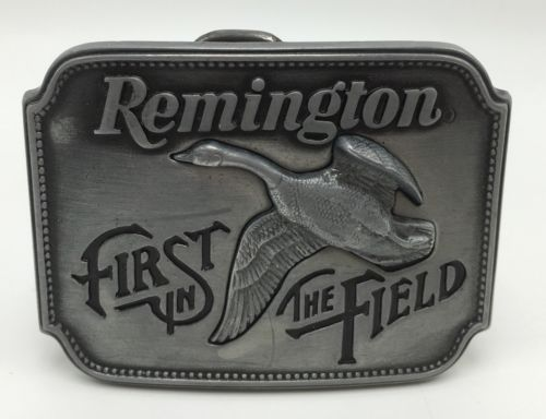 Vtg Remington First In Field 1980 Pewter Belt Buckle Canada Goose Sid Bell USA