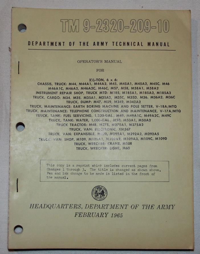 ORIGINAL VIETNAM 1965 DATED 2 1/2 TON 6 x 6 TRUCK OPERATORS HANDBOOK