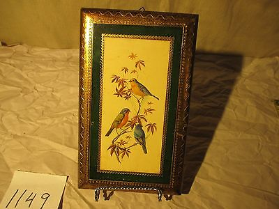Vintage Florentia Italy #1503 Picture of Birds Wooden Wall Art