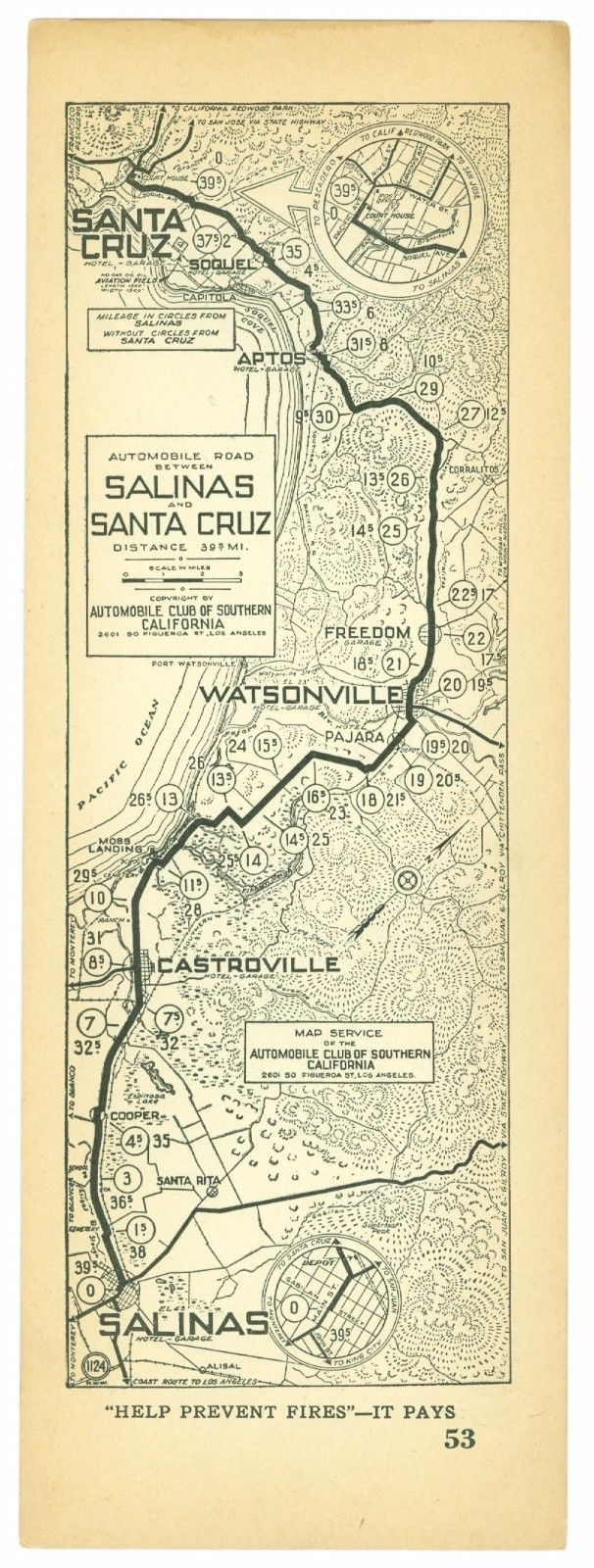 1920s Salinas to Santa Cruz, Calif., AAA Automobile Club of Southern Calif Map