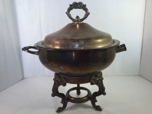 Vtg. Leonard Silver Plate Round Chafing Dish W/ Lid, Two Bowls Ornate Brass