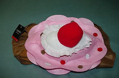 NWT Cupcake Pet Costume PINK WITH CHERRY TOPPER!  REALLY CUTE! SZ MED