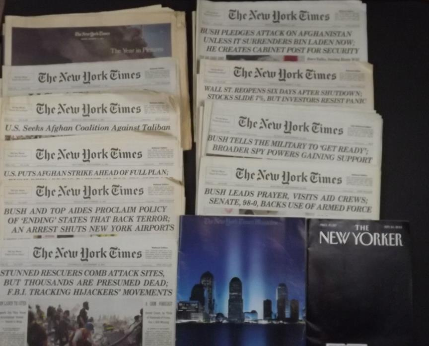 [S-186] Lot of 10 The New York Times Newspaper 9/11/01 September 11, 2001