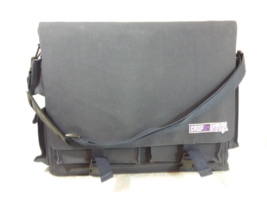 Crop In Style JR Tote Blue Scrapbook Organizer Craft Travel Bag Case w/ Strap