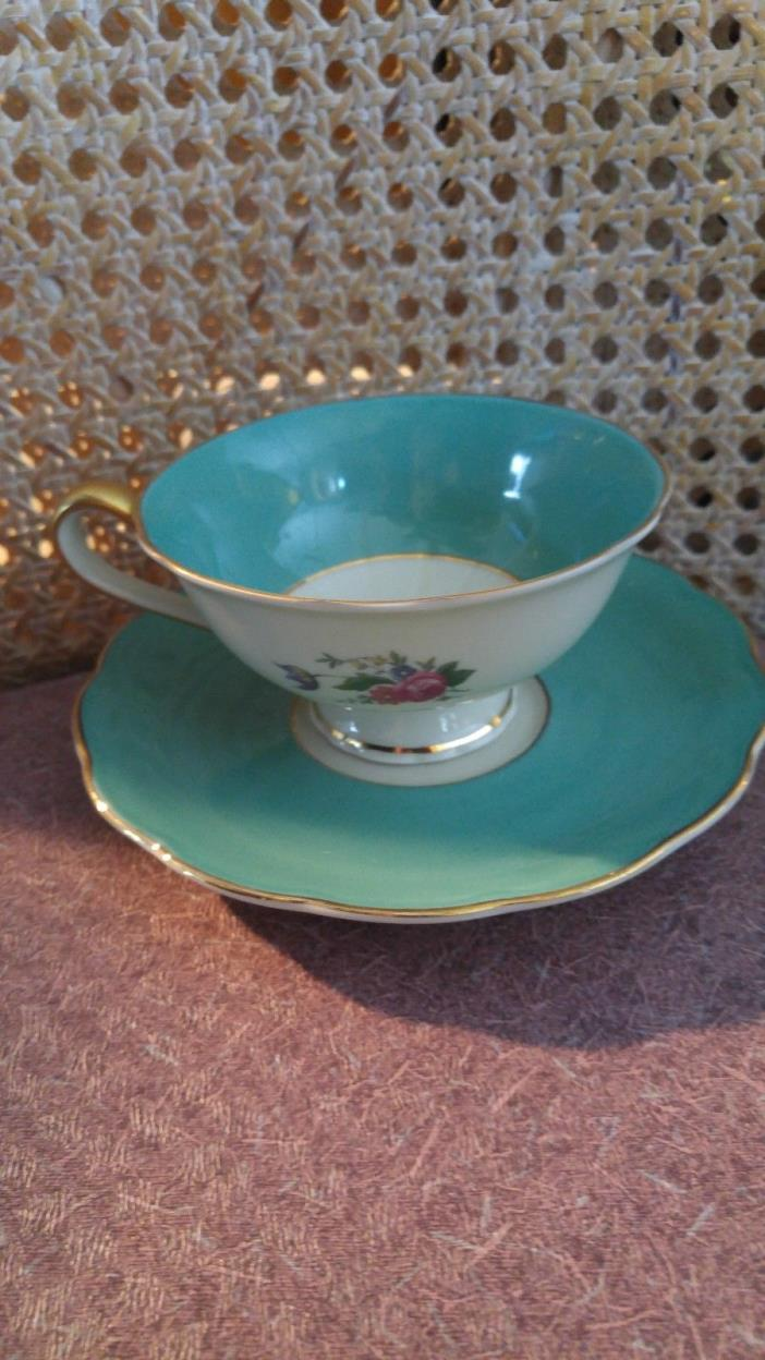 Royal Bayreuth -Maroon & Gold Ardalt Tea Cup and Saucer -Bavaria/Germany-US Zone