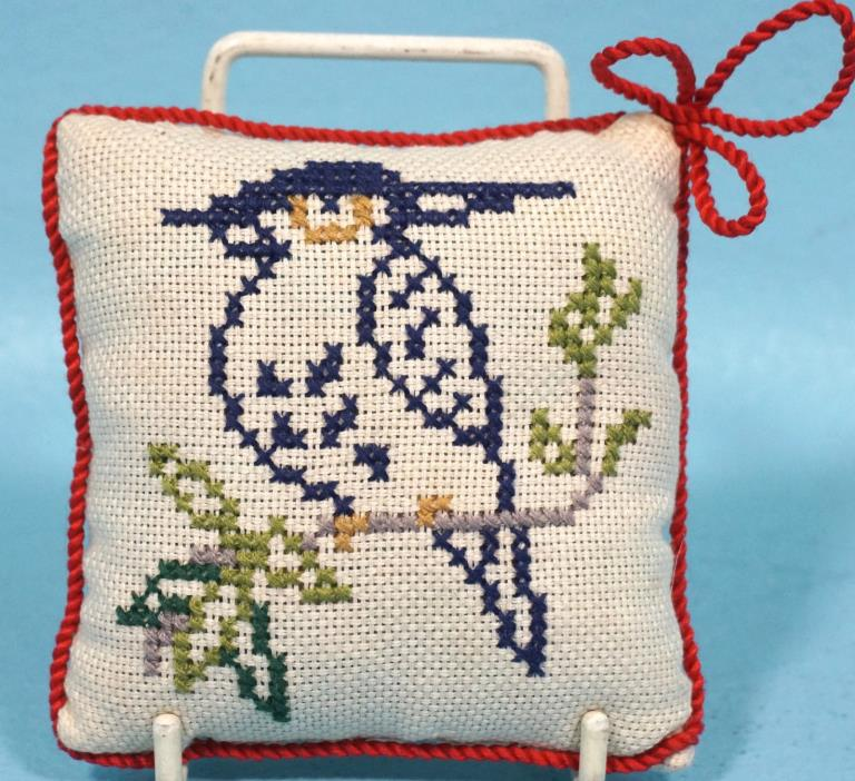 Antique Swiss Pin Cushion Needle Holder Pillow Cross-stitch Bird Red Trim