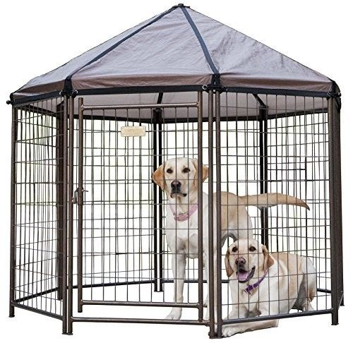 Outdoor Pet Kennel Shelter Dog Gazebo Portable Yard Safety Cover Shade Fresh Air