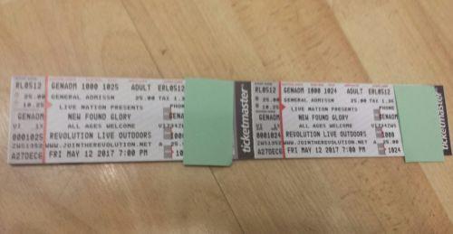 2 Tkts for New Found Glory GA Tickets 05/12/17 Revolution, Ft. Lauderdale FL