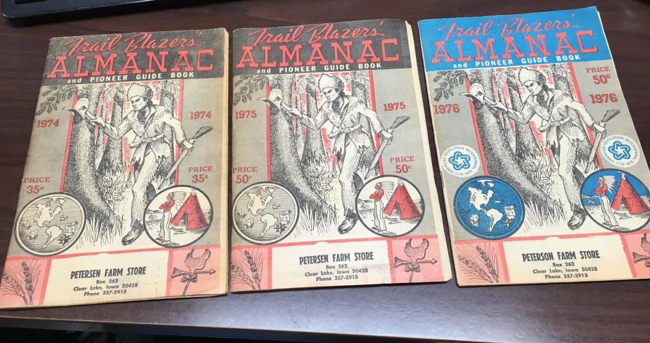 THREE Trail Blazers Almanac and Pioneer Guide Books - 1974, 1975 & 1976