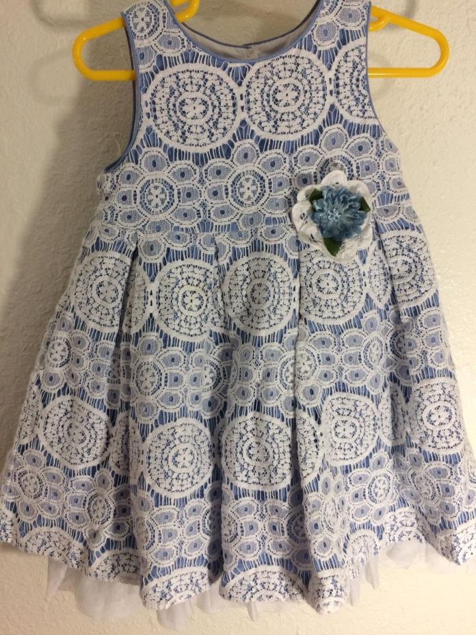 2T Girls Dress Blue White Lace Overlay-Flower embelishment