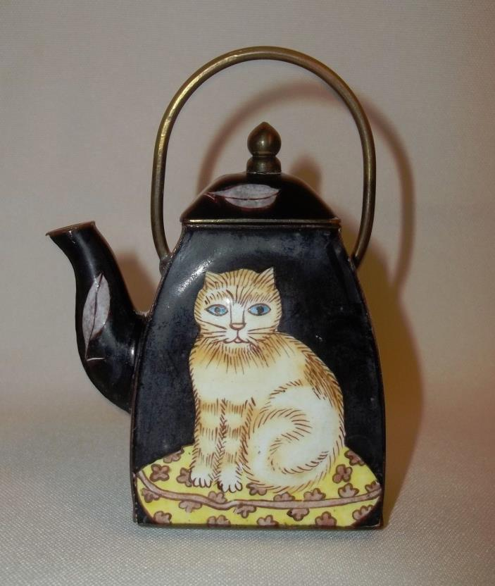 Vintage Enameled Empress Arts Mini Cat Tea Pot Pitcher with handle and lid