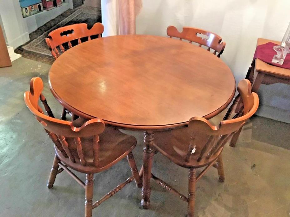 Tell City Hard Rock Maple Round Dining Table # F8563N & 4 Andover Chairs #8046