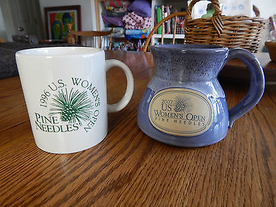 2007 US WOMENS OPEN GOLF PINE NEEDLES ART POTTERY MUG & 1996 OPEN MUG