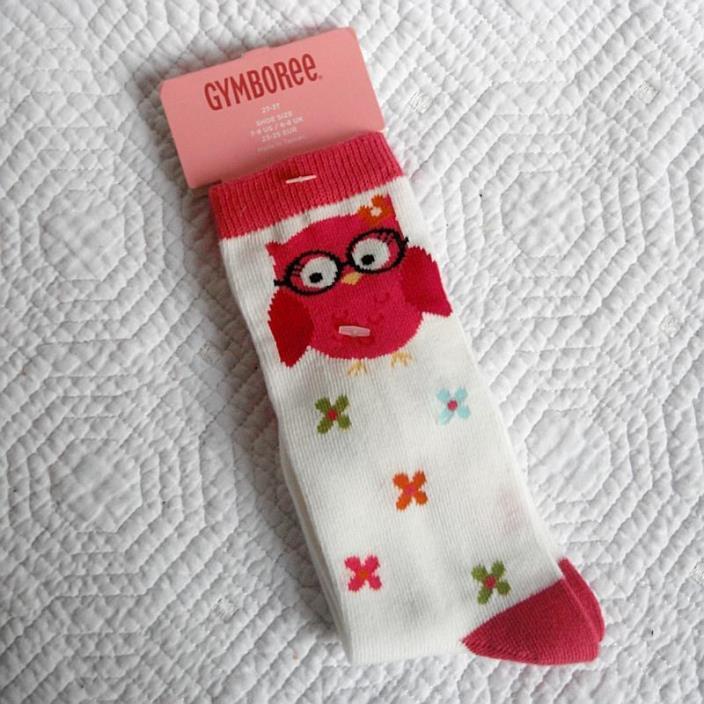 Gymboree Fall Homecoming Socks Knee High Owl Pink White sz 2T 3T NEW