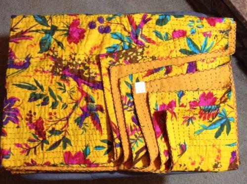 Indian Handmade Quilt Vintage Kantha Bedspread Throw Cotton Blanket Ralli-GUDARI