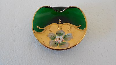 vintage Italian green glass/enamel pin dish