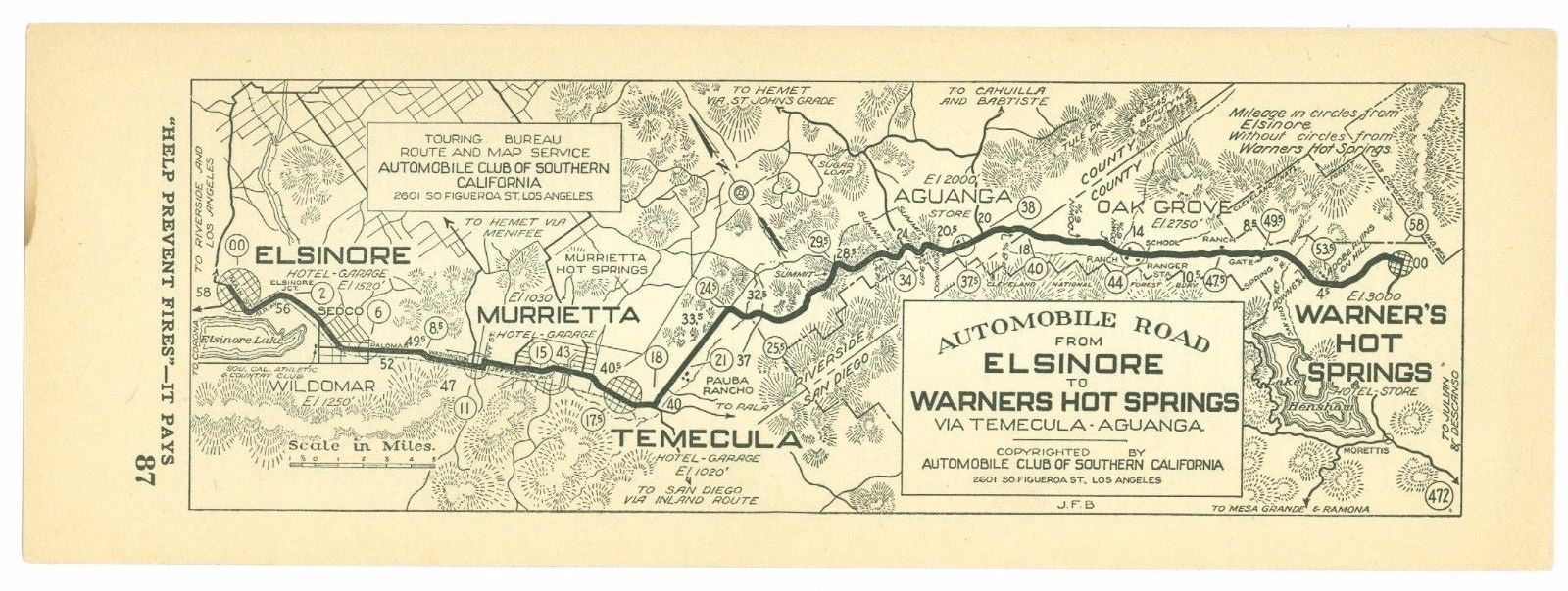 1920s Elsinore to Warner Hot Springs, Cal. AAA Automobile Club of Southern Calif