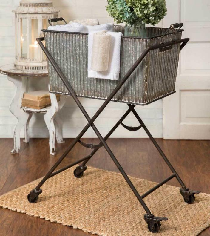 Rustic Farm House Country Style Metal Wash Bin with Rolling Floor Stand