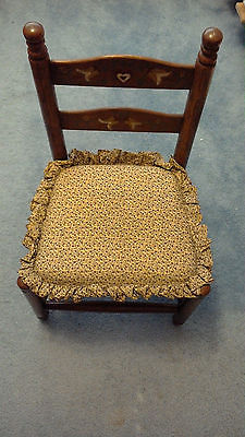 Vintage Child's Chair Wooden with Cushion seat