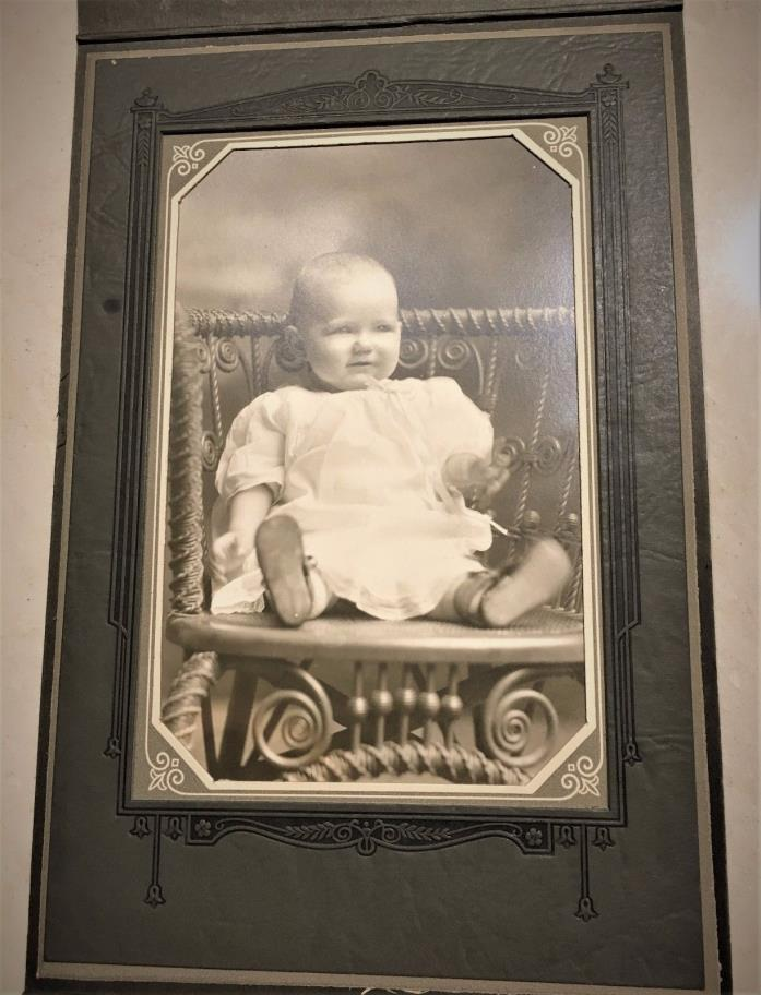 Baby Photo Vintage in cardboard frame Nursery, Collectible, Collector, B&W, CA