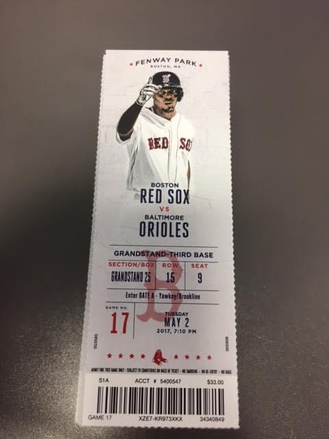 Machado HR - Boston Red Sox Orioles MINT Season Ticket 5/2/17 2017 MLB Stub