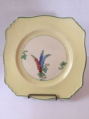 Vintage Royal Denby Plate Regd No 768985 | Larkspur Flowers with Yellow Chartreu