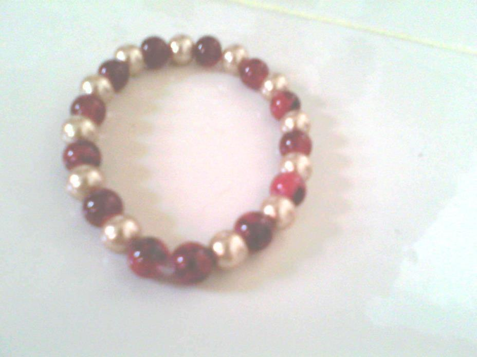 New bracelet, custom made glass beads, red and gold beads, 8mm, 100% guarantee