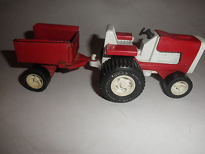 vintage Tonka tin /  plastic Red Yard Tractor  with Pull Behind Garden Cart