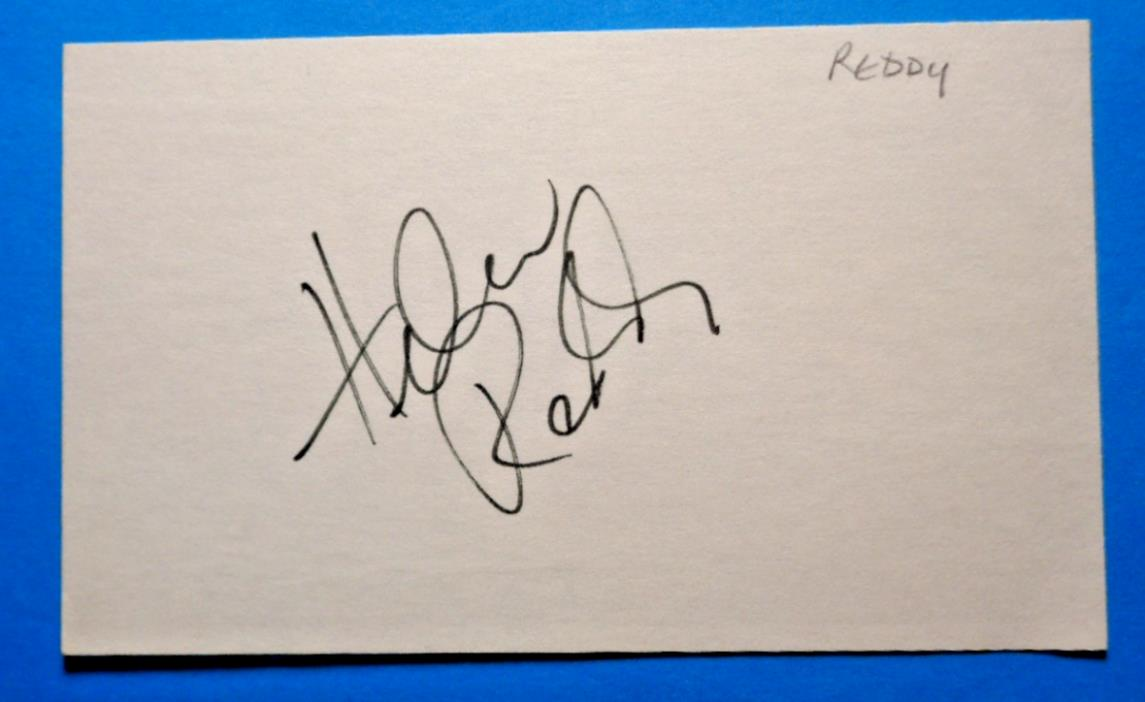 HELEN REDDY SINGER AUTOGRAPH SIGNATURE ON INDEX CARD