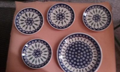 Boleslawiec Hand Made in Poland Ceramic Peacock Design Plates /Very Nice