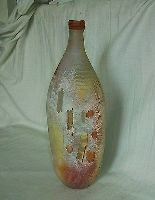 Vintage Murano SCAVO Italian Art Glass Bottle Vase SIGNED   Free Ship U.S. & Cda