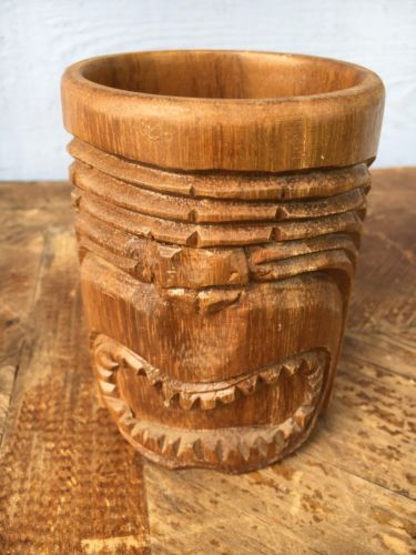 Hand Carved Monkey Pod Wooden Wood Mug Warrior Tiki
