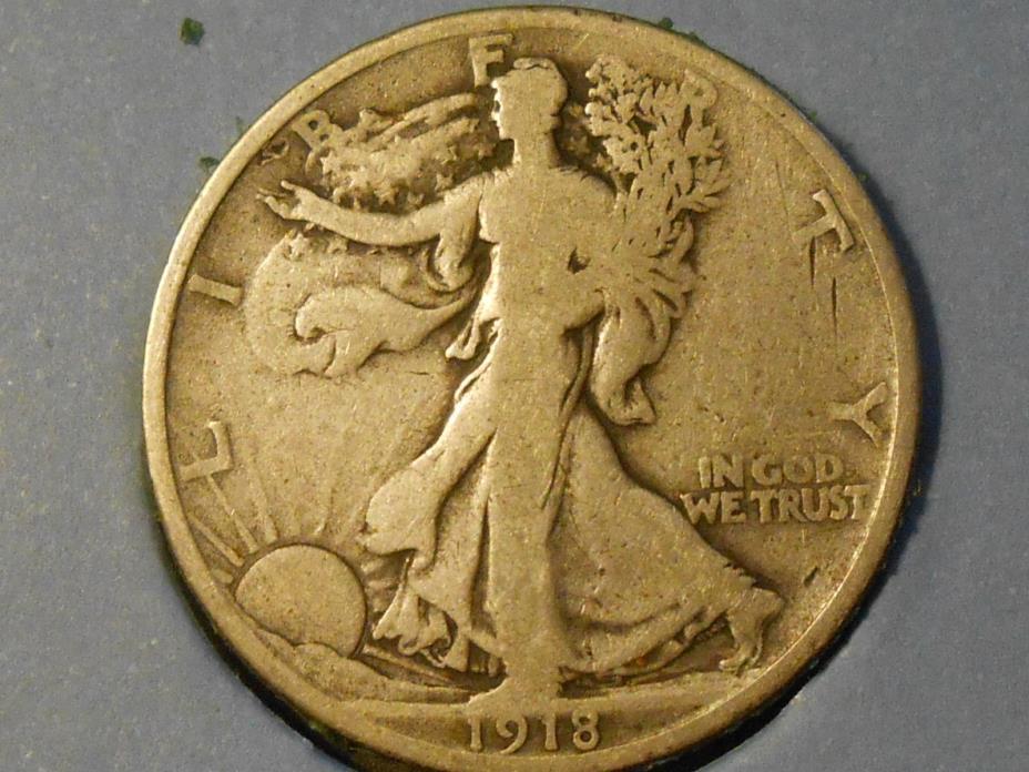 1918S Good Walking Liberty Half Dollar Ref#63