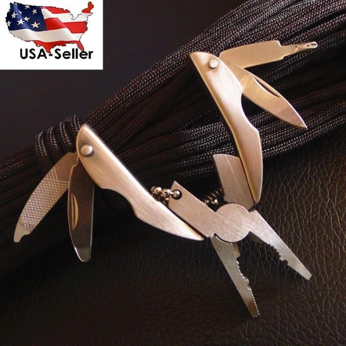 MIni Folding Pliers Knife Screwdriver Key Chain Stainless