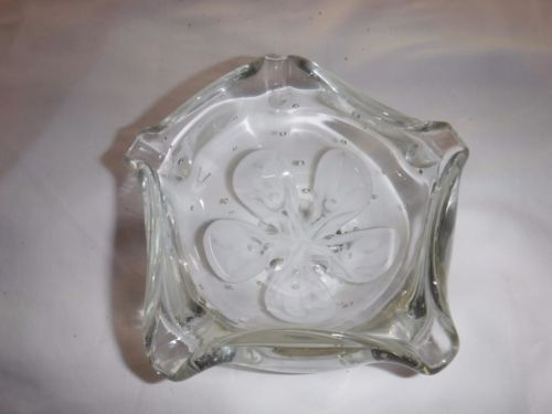 AUTHENTIC JOE ZIMMERMAN RARE WHITE FLOWER GLASS DISH