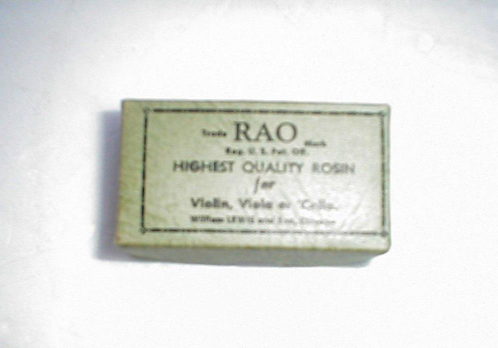 VTG VIOLIN VIOLA OR CELLO ROSIN RAO WML LEWIS CHICAGO BOX IN EXCELLENT CONDITION