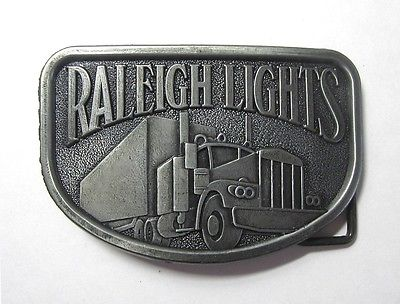 Vintage 1980s Raleigh Lights Cigarettes Big Rig Truck  Pewter Promo Belt Buckle
