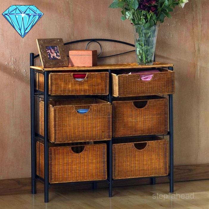 Storage Organizer With Baskets Wicker Basket Iron Bin Set Chest Sets Bathroom