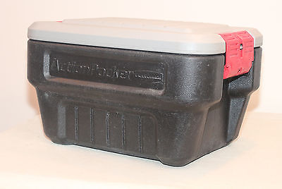 RUBBERMAID ACTION PACKER 1170 STORAGE TOTE BIN CONTAINER PAD LOCKABLE 8-GAL