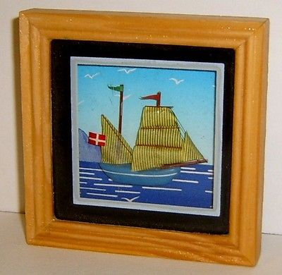 Vintage Miniature/Tiny Framed 3D Sailboat / Ocean Picture