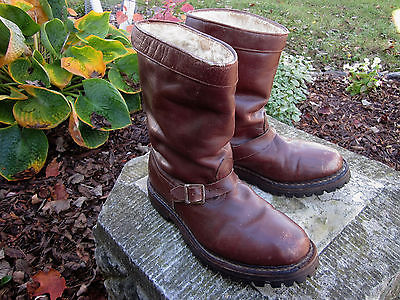 Vintage Mens Engineer Hiking Shearling Lined Leather Boots Biker  Marwa Austria