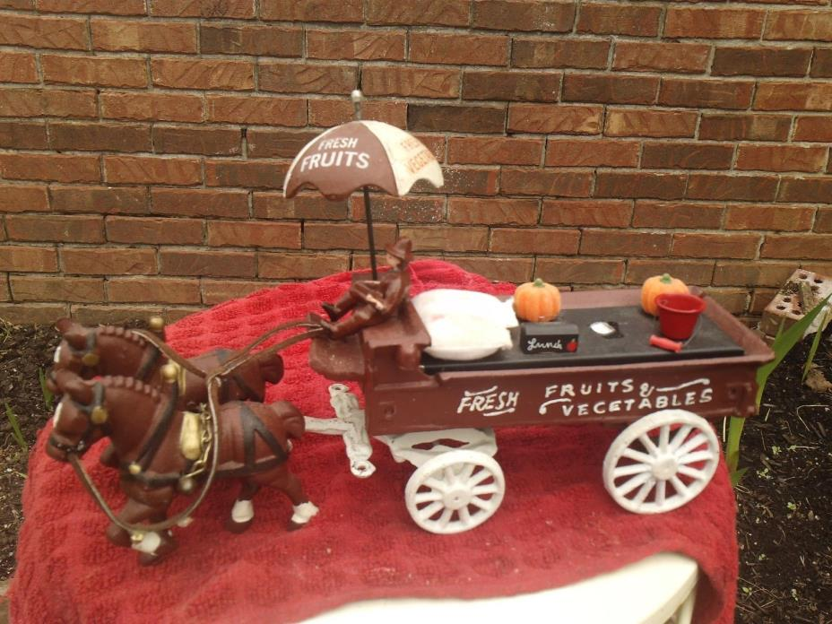 VINTAGE CAST IRON HORSE DRAWN FRESH VEGETABLES FRESH FRUITS WAGON,COMPLETE