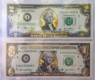 2003 $1 & $2 Colorized Gold Leaf Bills +