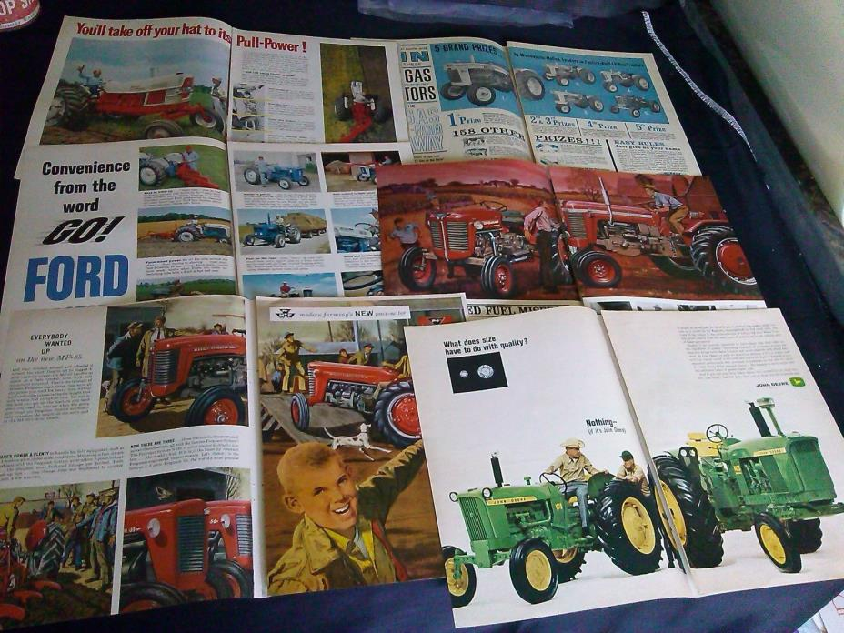 lot of 28 two page tractor magazine print ads 1943-1969 massey ford john deere